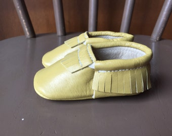 Soft sole baby shoes Mustard Yellow Moccasins