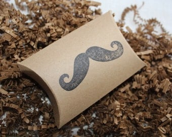 12 Mustache stamped kraft pillow boxes- usable inside dimensions- 3.5 x 3 x 1 inches