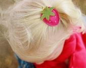 Felt hair clip -No slip -Wool felt -British strawberry -magenta
