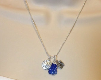 """Beach Glass Charm Necklace with wire wrapped Blue Beach Glass Pendant 1.25"""" Long on Silver 18.25"""" Ball Chain Previously 25 Dollars ON SALE"""