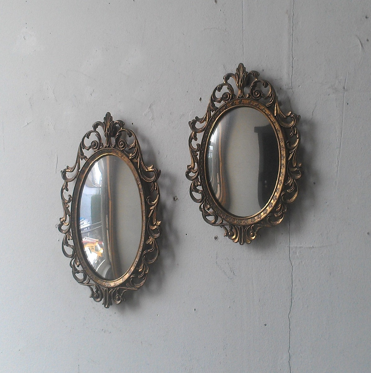 Small Convex Mirror Set in Vintage Oval by SecretWindowMirrors