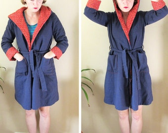 vintage coat 70's jacket women's clothing red blue calico print hooded tie waist retro 1970's size extra small xs