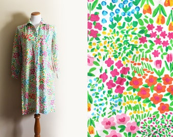 vintage dress 1970s womens clothing novelty rainbow floral print size medium m