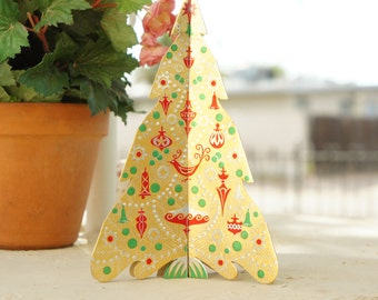 Vintage 60s Paper Christmas Tree Ornament Table Decor