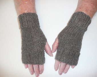 Hand Knit Fingerless Mittens/Texting Gloves-Brown Heather  100% Wool  Wrist Warmers