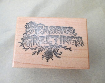 PSX rubber stamp mounted on wood - Christmas, Seasons Greetings, 1983