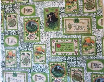 Erin Go Bragh fabric - Saint Patricks Day postcards pattern - 1 yard x 44 inches - all cotton, Fabri-Quilt Design #986