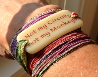 Personalized Bracelet fused glass wrap bracelet on hand dyed silk ribbon