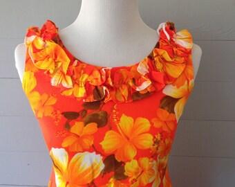 Vintage 1980s Womens Dress / Hawaiian Dress Long Orange Floral Hawaiiana Modes Dress Ruffled Neckline