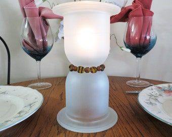 Table Lighting, Candle Light, Frosted Derby Cup with Tiger Bead Band, Glass Votive, Tea Light