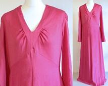 hot pink dress // 70s long sleeve maxi dress // women 70s disco clothing // 70s polyester dress // long grecian dress // hippy boho dress