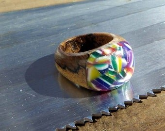 Spalted Beech Wood Ring - Crazy Rainbow Patches - Size 8.5 or Customised Fit