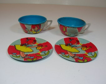 Vintage Tin Cups And Saucers