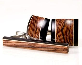 Cuff Link Tie Bar Set - Honduran Rosewood Ebony Holly - Custom Wood Cufflinks - Gift Idea For Wedding, Anniversary, Groomsmen, Fathers Day