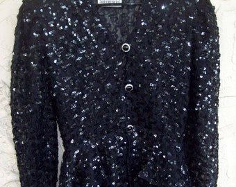 Vintage Sequined Top Peplum Jacket Black Sequin Jacket Helene Sidel Special Occasion Wedding Mother of the Bride Prom Holiday New Years Eve