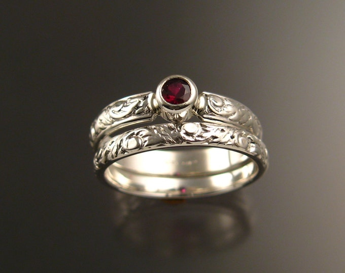 Garnet Wedding set sterling silver Ruby substitute Victorian bezel set two ring set made to order in your size