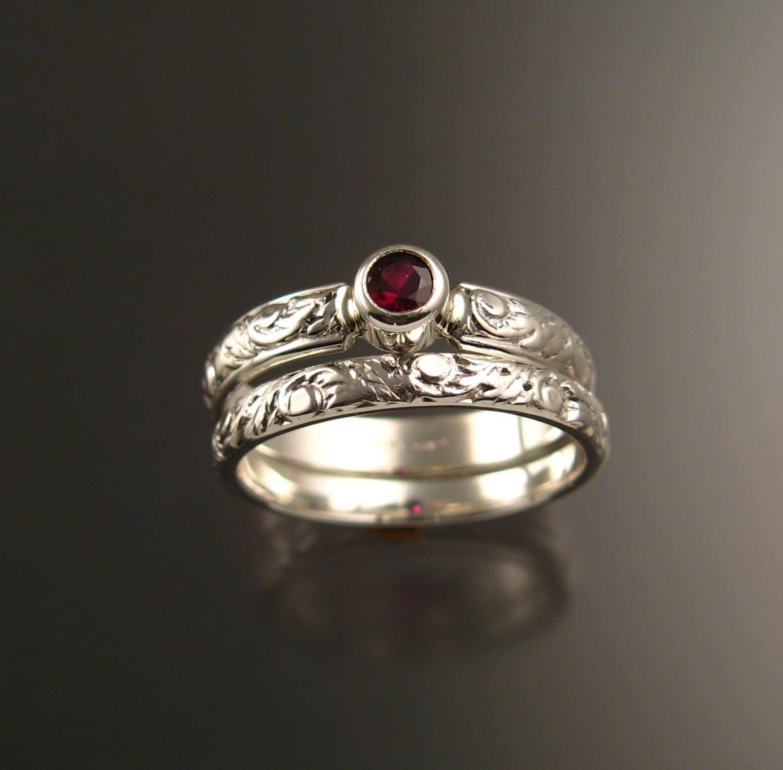 garnet wedding set sterling silver ruby substitute victorian bezel