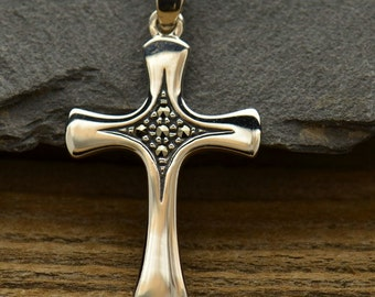 Swiss Marcasite Cross Pendant - Religion, Spiritual, Cross Charms, Jesus, Christianity, C141