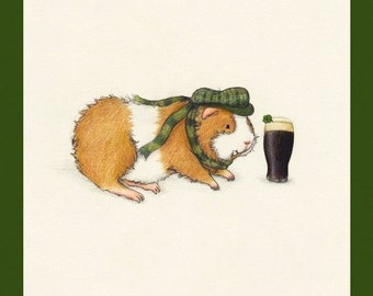 Timothy Sweetmeadow the Irish St. Patrick's Day Guinea Pig Art Print