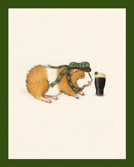 Timothy Sweetmeadow the Irish St. Patrick's Day Guinea Pig Art Print
