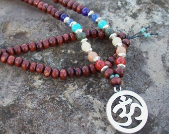 Long Beaded Necklace with Seven Main Chakra Colors and Silver Ohm Pendant - Om Mantra Yoga Necklace