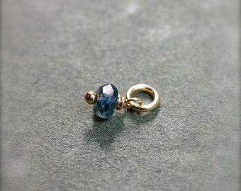 Tiny Kyanite Wire Wrapped Stone Charm, 14k Gold Filled Denim Blue Gemstone Pendant - Add a Dangle
