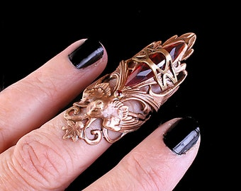 Gothic Knuckle Ring Red Claw Ring Above Knuckle Ring Bird Ring