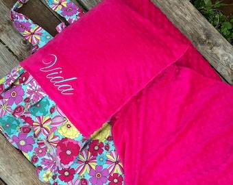 Personalized Kindermat Nap Mat cover with both attached Minky Blanket and attached Minky Pillowcase