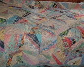 FURTHER REDUCED Large Vintage Crazy Quilt, Cotton, Fixer, Fair Condition Needs Help 72 x 81 Inches