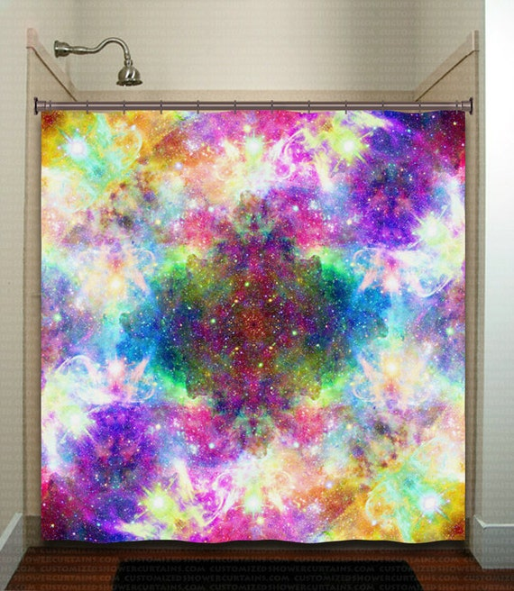 Rainbow cosmos nebula outer space galaxy shower curtain for Space curtain fabric