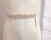 Skinny Crystal Bridal Belt- Gold Crystal Bridal Belt- Swarovski Crystal Bridal Sash- Blush Bridal Belt
