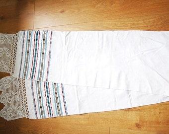 """Vintage Ukrainian Hand Made Towel Table Runner Rushnyk 1 Folk Embroidery and Crochet White Linen  98"""" by 12"""" from Ukraine USSR"""