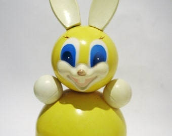 "Vintage Roly Poly Ding Doll Toy Hare Bunny Rabbit Nevalyashka 32cm 12"" inches Yellow 1970s from Russia Soviet Union USSR"