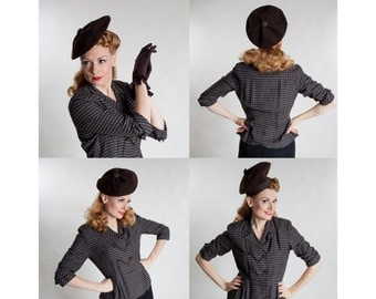 RESERVED Vintage 1940s Wool Beret Hat - Chocolate Brown - New York Creation