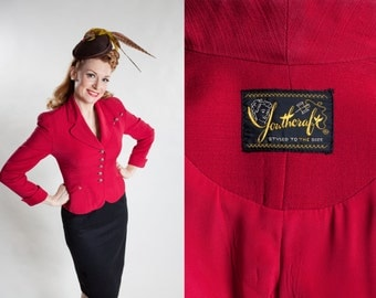 Vintage 1940s Red Suit Jacket - Cranberry Youthcraft - Fall Fashions 1950s