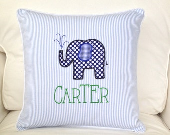 Appliqued Seersucker Elephant Applique Pillow Cover