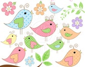 Pastel Chatter Birds Cute Digital Clipart - Commercial Use OK - Pretty Bird Clipart, Spring Bird Graphics