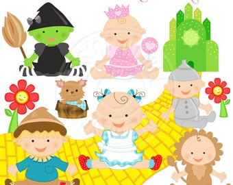 Wizard of Oz Baby Cute Digital Clipart - Commercial Use OK - Baby Dorothy Clipart, Wizard of Oz Clipart, Baby Wizard of Oz