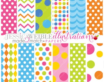 Summer Swim Cute Digital Papers Backgrounds - Commercial Use OK - Summer Digital Backgrounds