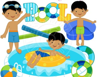 Boys Pool Party V2 Cute Digital Clip Art - Commercial Use Ok - Summer Swimming Pool Party Graphics