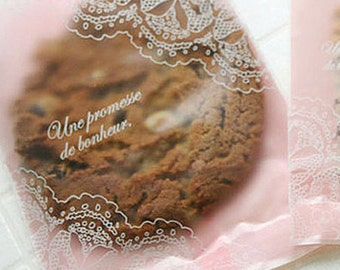 20 Elegant Pink Lace Semi Transparent Bags - S size (2.7 x 3.9in)