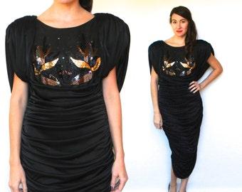 Vintage 70s Black Party Dress Bronze Sequin Wiggle Dress, Medium