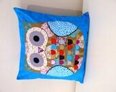 SALE Cushion Cover  Pillow Cover  - blue Owl applique 40cm 16 inches