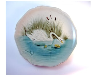 Vintage Majolica Choisy Le Roi Plate with Swan in Pond