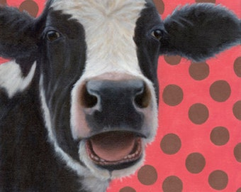 Cow Print - Holstein Cow Art with Polka Dots - Black and White Cow Print - Funny Animal Art - Ten Percent Benefits Animal Charity