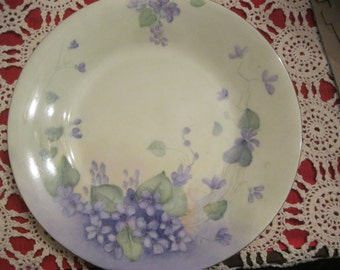 Vintage Antique Plate with Hand painted FLowers, Purple, Violets, China, Lavender