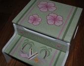 Children's Custom Hand Painted - Aloha Hawaii - Girls Step Stool - Baby Shower Gift - Nursery Furniture - Child Step Stool
