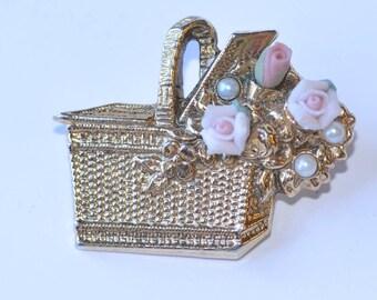 Flower Basket Brooch Vintage Flower Pin Charming Jewellery