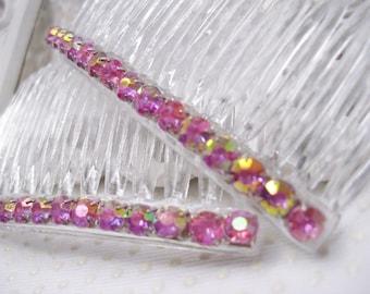 4mm Aurora Borealis Vintage Pink Color Changing Rhinestones Side Hair Comb Pair Bridesmaids combs