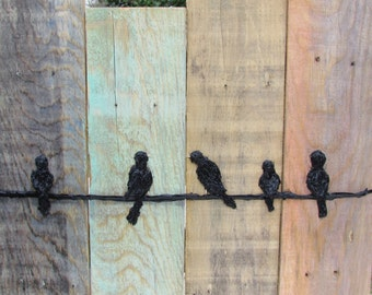 Birds on a Wire Wall Hanging-Rustic Wall Decor - Reclaimed Wood Art - Distressed Raised Art-Blue, Aqua, Tan, Pink and Black -Pallet Wall Art